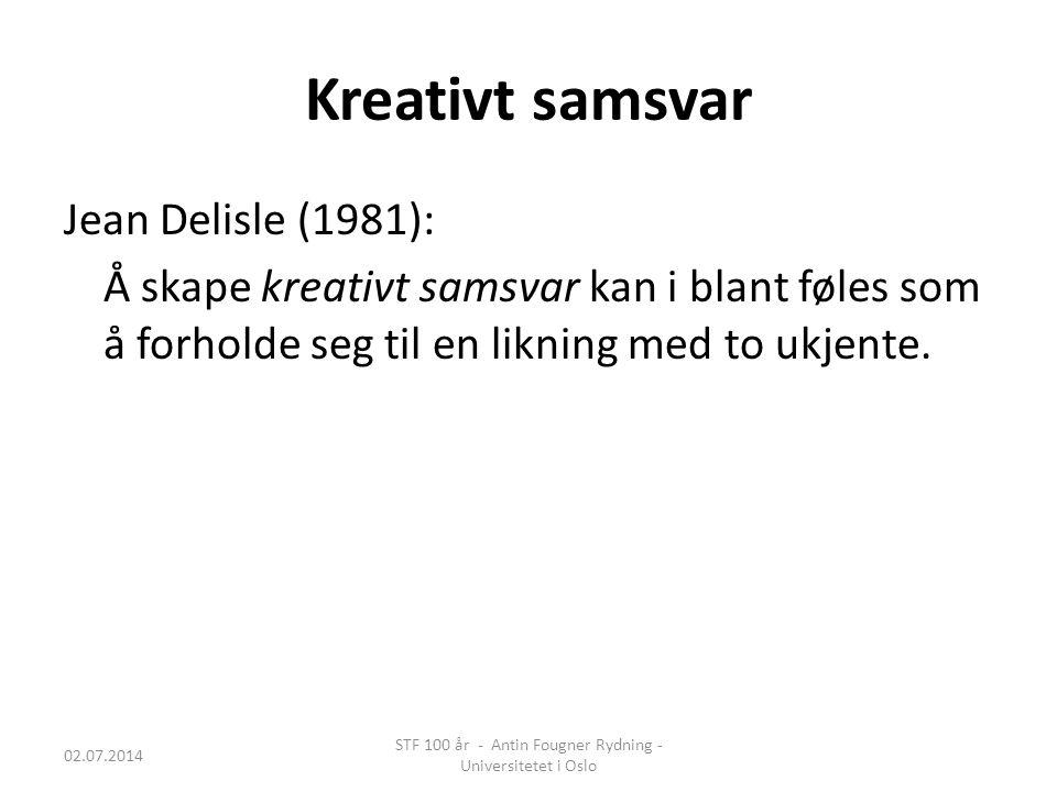 Kreativt samsvar Jean Delisle (1981): Å skape kreativt samsvar kan i blant føles som å forholde seg til en likning med to ukjente. 02.07.2014 STF 100