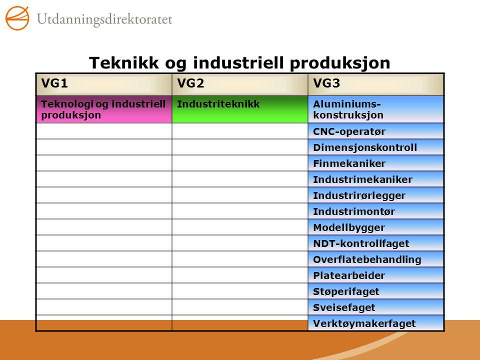 Teknikk og industriell produksjon VG1VG2VG3 Teknologi og industriell produksjon IndustriteknikkAluminiums- konstruksjon CNC-operatør Dimensjonskontrol