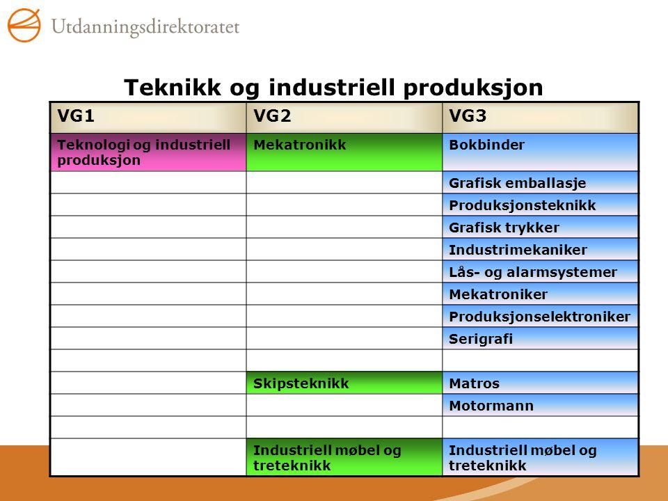 Teknikk og industriell produksjon VG1VG2VG3 Teknologi og industriell produksjon MekatronikkBokbinder Grafisk emballasje Produksjonsteknikk Grafisk try