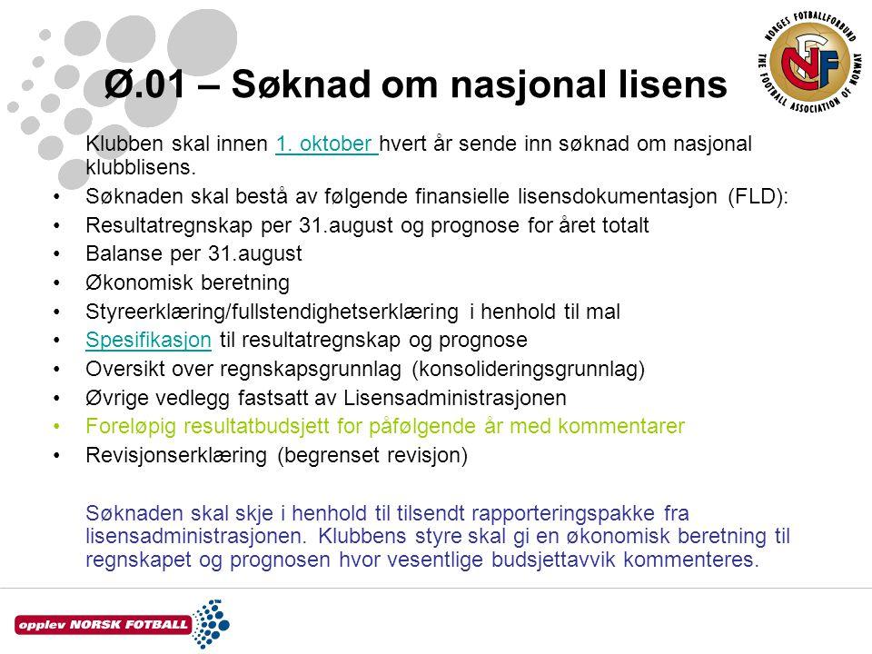 Ø.01 – Søknad om nasjonal lisens Klubben skal innen 1. oktober hvert år sende inn søknad om nasjonal klubblisens.1. oktober •Søknaden skal bestå av fø