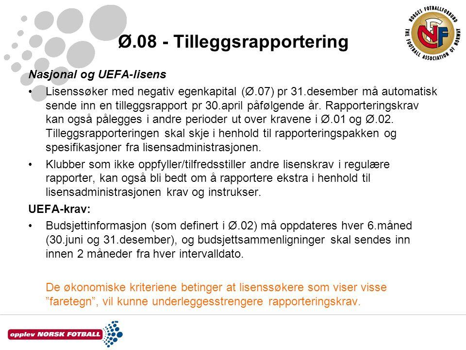 Ø.08 - Tilleggsrapportering Nasjonal og UEFA-lisens •Lisenssøker med negativ egenkapital (Ø.07) pr 31.desember må automatisk sende inn en tilleggsrapp