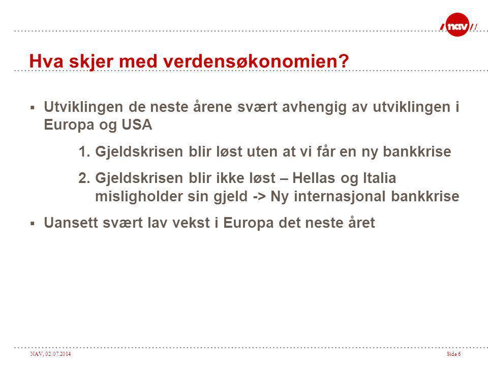 NAV, 02.07.2014Side 6 Hva skjer med verdensøkonomien.