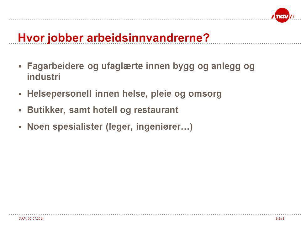 NAV, 02.07.2014Side 8 Hvor jobber arbeidsinnvandrerne.