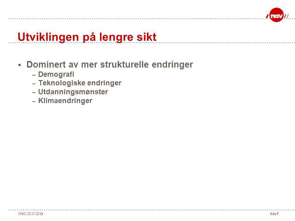 NAV, 02.07.2014Side 9 Utviklingen på lengre sikt  Dominert av mer strukturelle endringer – Demografi – Teknologiske endringer – Utdanningsmønster – Klimaendringer