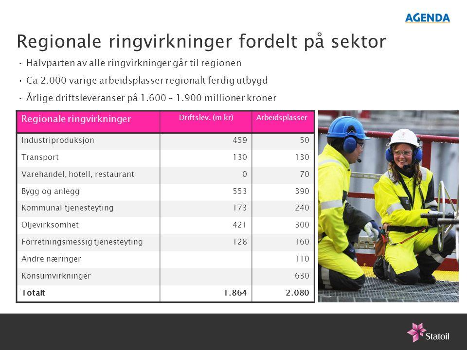 Regionale ringvirkninger fordelt på sektor Regionale ringvirkninger Driftslev. (m kr)Arbeidsplasser Industriproduksjon45950 Transport130 Varehandel, h