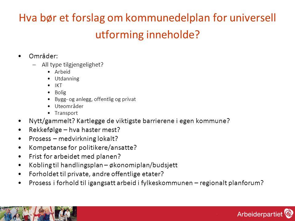 Hva bør et forslag om kommunedelplan for universell utforming inneholde.
