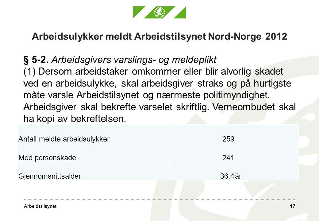 Arbeidstilsynet Arbeidsulykker meldt Arbeidstilsynet Nord-Norge 2012 Antall meldte arbeidsulykker259 Med personskade241 Gjennomsnittsalder36,4år 17 § 5-2.