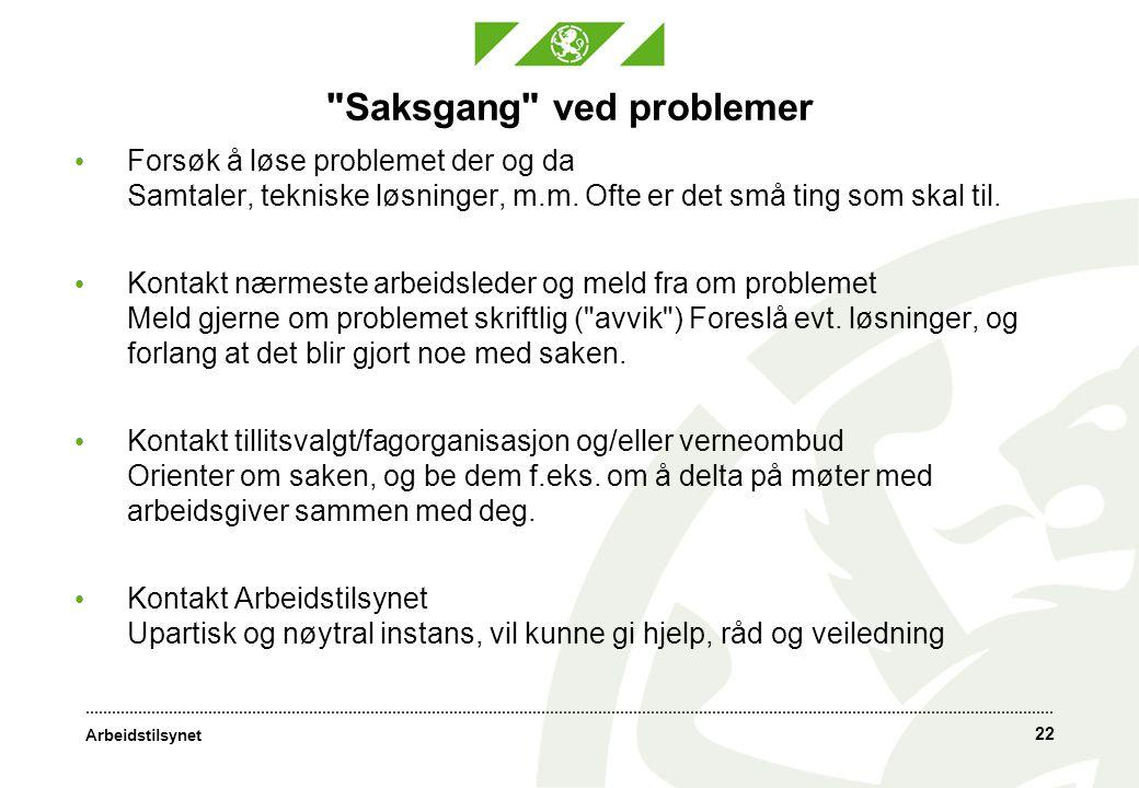 Arbeidstilsynet 22 Saksgang ved problemer • Forsøk å løse problemet der og da Samtaler, tekniske løsninger, m.m.