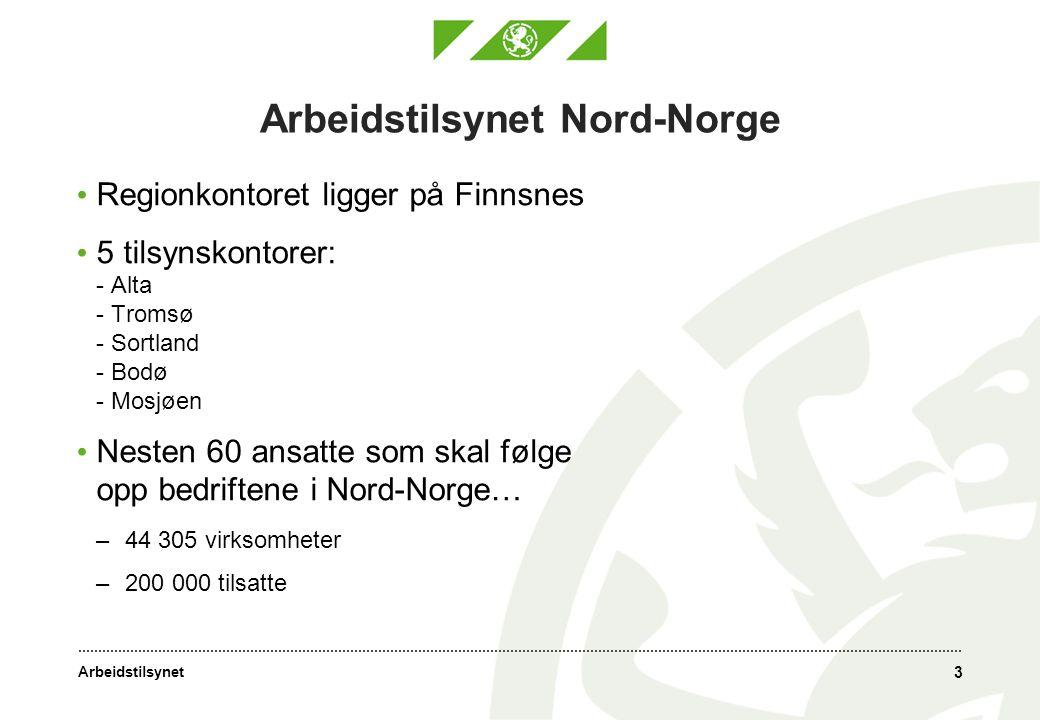 Arbeidstilsynet 3 Arbeidstilsynet Nord-Norge • Regionkontoret ligger på Finnsnes • 5 tilsynskontorer: - Alta - Tromsø - Sortland - Bodø - Mosjøen • Nesten 60 ansatte som skal følge opp bedriftene i Nord-Norge… –44 305 virksomheter –200 000 tilsatte