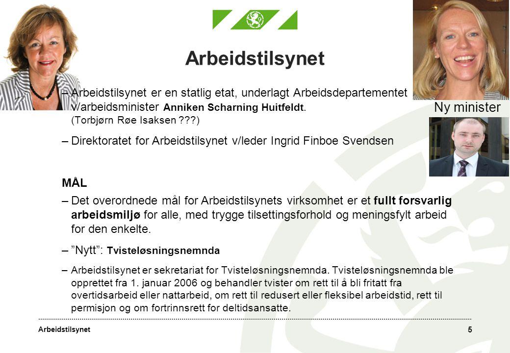 Arbeidstilsynet 5 –Arbeidstilsynet er en statlig etat, underlagt Arbeidsdepartementet v/arbeidsminister Anniken Scharning Huitfeldt.