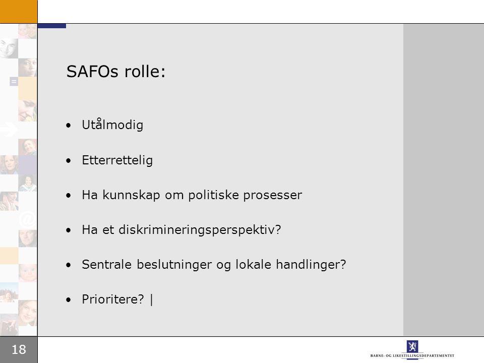 18 SAFOs rolle: •Utålmodig •Etterrettelig •Ha kunnskap om politiske prosesser •Ha et diskrimineringsperspektiv.