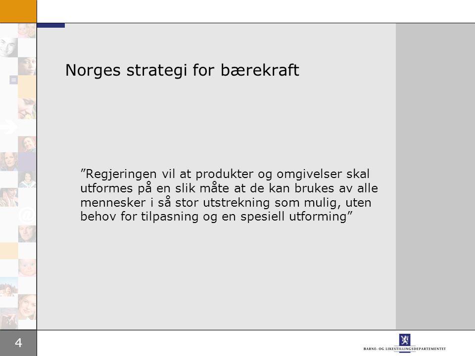 4 Norges strategi for bærekraft Regjeringen vil at produkter og omgivelser skal utformes på en slik måte at de kan brukes av alle mennesker i så stor utstrekning som mulig, uten behov for tilpasning og en spesiell utforming