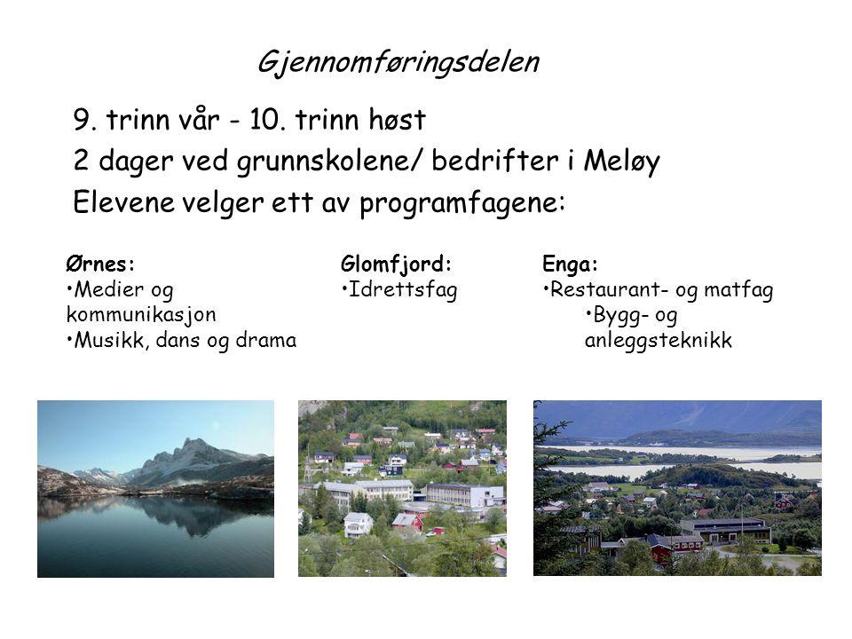 Gjennomføringsdelen 9. trinn vår - 10. trinn høst 2 dager ved grunnskolene/ bedrifter i Meløy Elevene velger ett av programfagene: Ørnes: •Medier og k