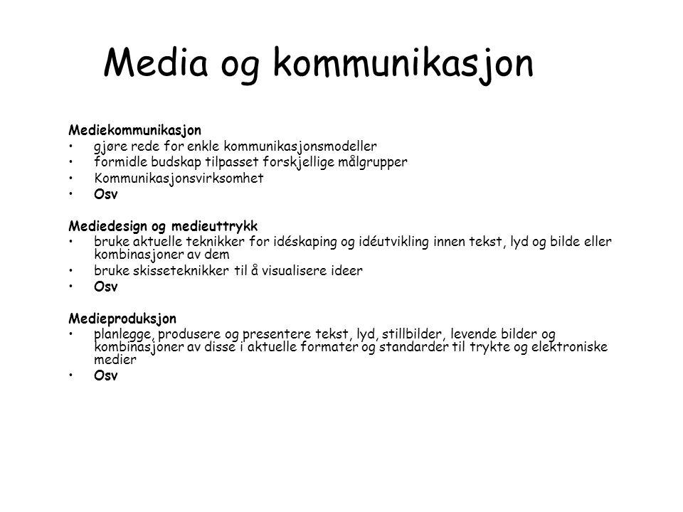 Media og kommunikasjon Mediekommunikasjon •gjøre rede for enkle kommunikasjonsmodeller •formidle budskap tilpasset forskjellige målgrupper •Kommunikas