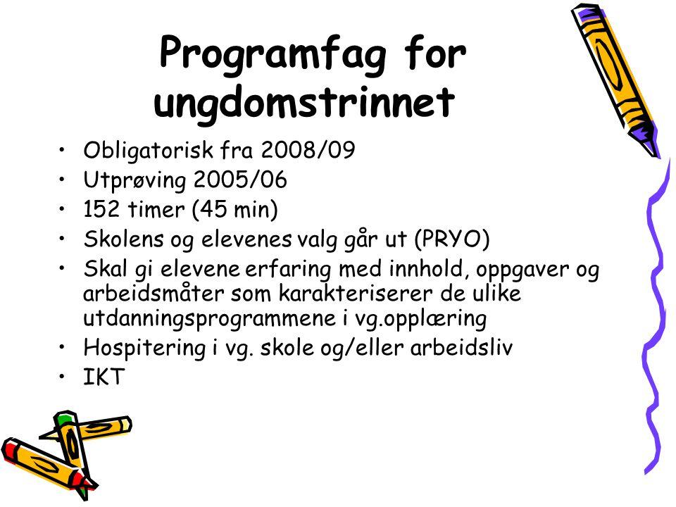 Programfag for ungdomstrinnet •Obligatorisk fra 2008/09 •Utprøving 2005/06 •152 timer (45 min) •Skolens og elevenes valg går ut (PRYO) •Skal gi eleven