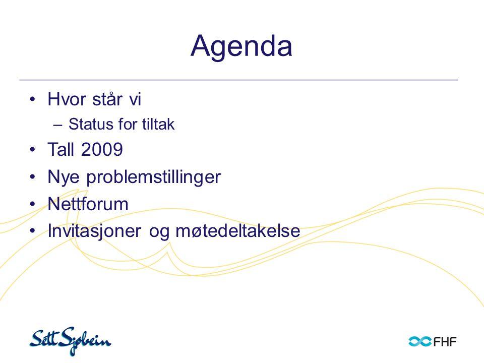 Agenda •Hvor står vi –Status for tiltak •Tall 2009 •Nye problemstillinger •Nettforum •Invitasjoner og møtedeltakelse