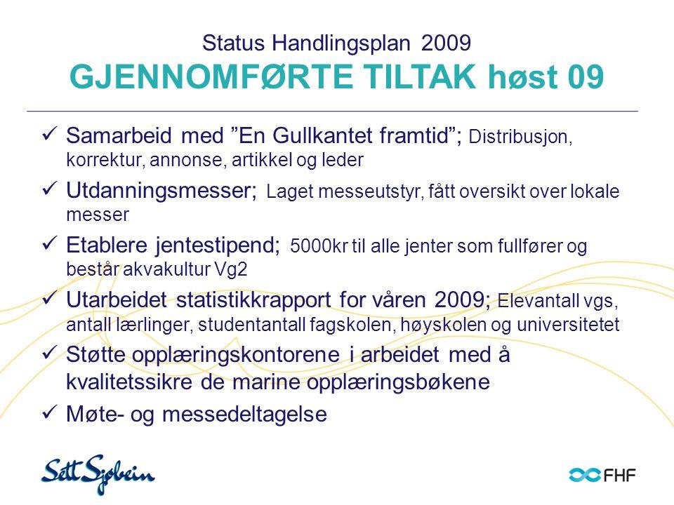 """Status Handlingsplan 2009 GJENNOMFØRTE TILTAK høst 09  Samarbeid med """"En Gullkantet framtid""""; Distribusjon, korrektur, annonse, artikkel og leder  U"""