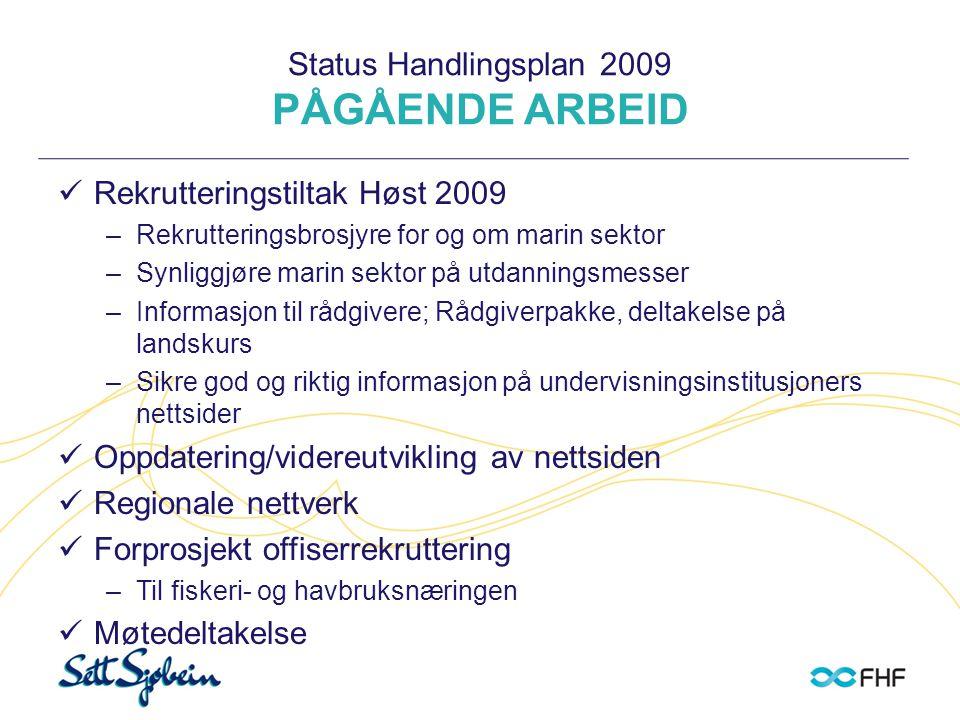 Status Handlingsplan 2009 PÅGÅENDE ARBEID  Rekrutteringstiltak Høst 2009 –Rekrutteringsbrosjyre for og om marin sektor –Synliggjøre marin sektor på u