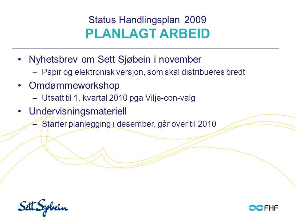 Status Handlingsplan 2009 PLANLAGT ARBEID •Nyhetsbrev om Sett Sjøbein i november –Papir og elektronisk versjon, som skal distribueres bredt •Omdømmewo