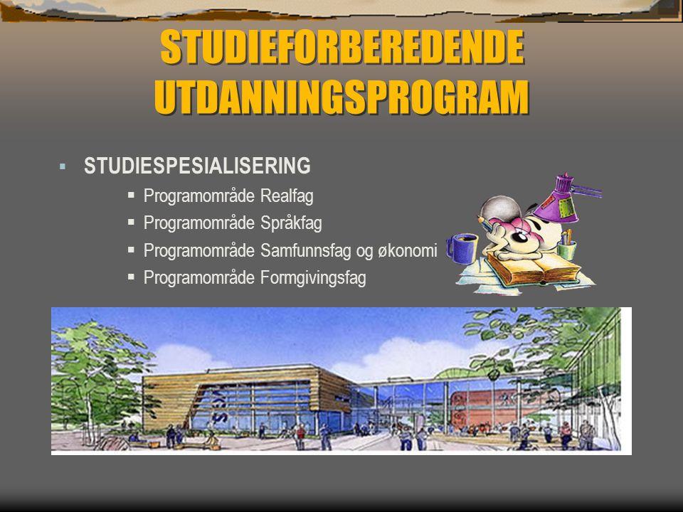 STUDIEFORBEREDENDE UTDANNINGSPROGRAM  STUDIESPESIALISERING  Programområde Realfag  Programområde Språkfag  Programområde Samfunnsfag og økonomi 
