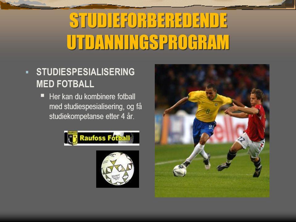 STUDIEFORBEREDENDE UTDANNINGSPROGRAM  STUDIESPESIALISERING MED FOTBALL  Her kan du kombinere fotball med studiespesialisering, og få studiekompetans