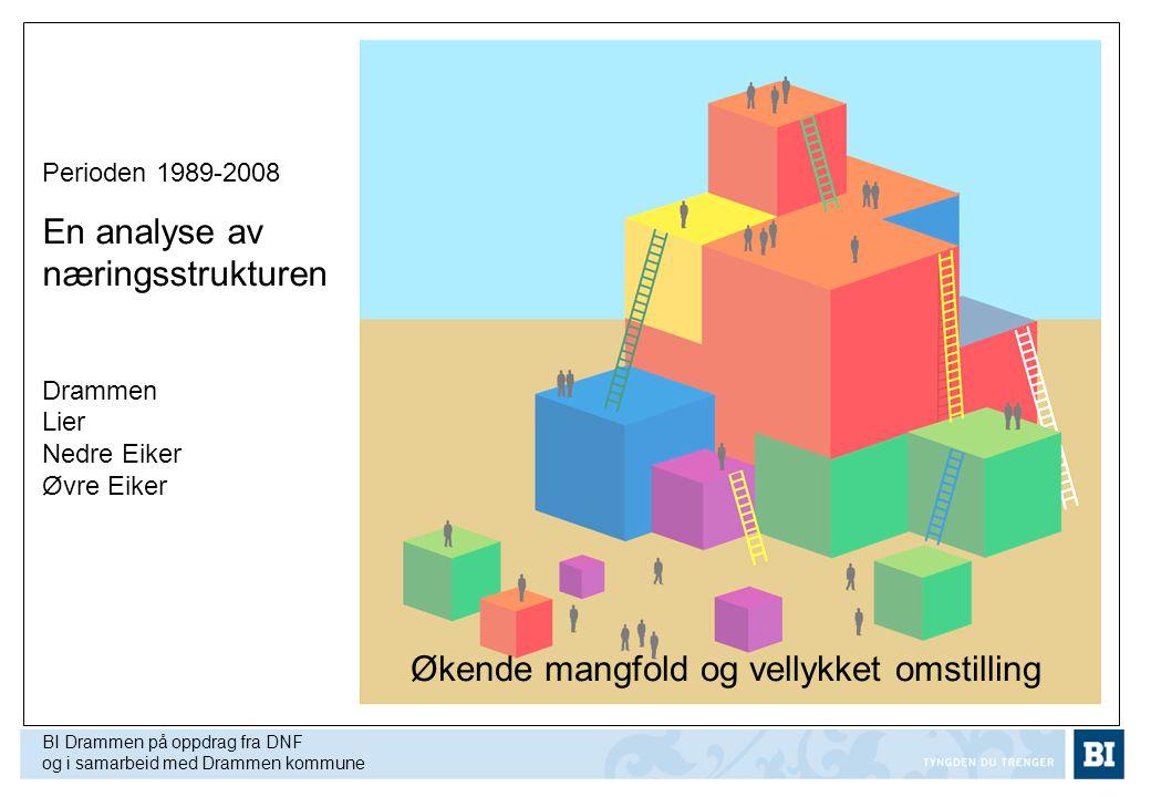 Perioden 1989-2008 En analyse av næringsstrukturen Drammen Lier Nedre Eiker Øvre Eiker BI Drammen på oppdrag fra DNF og i samarbeid med Drammen kommun