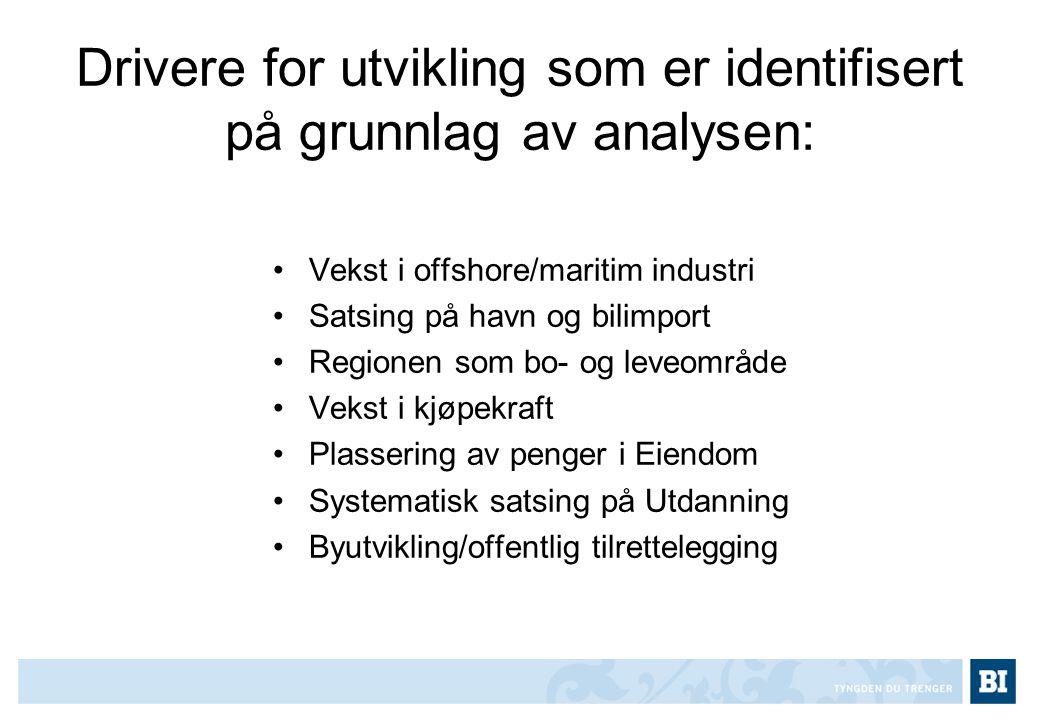 Drivere for utvikling som er identifisert på grunnlag av analysen: •Vekst i offshore/maritim industri •Satsing på havn og bilimport •Regionen som bo-