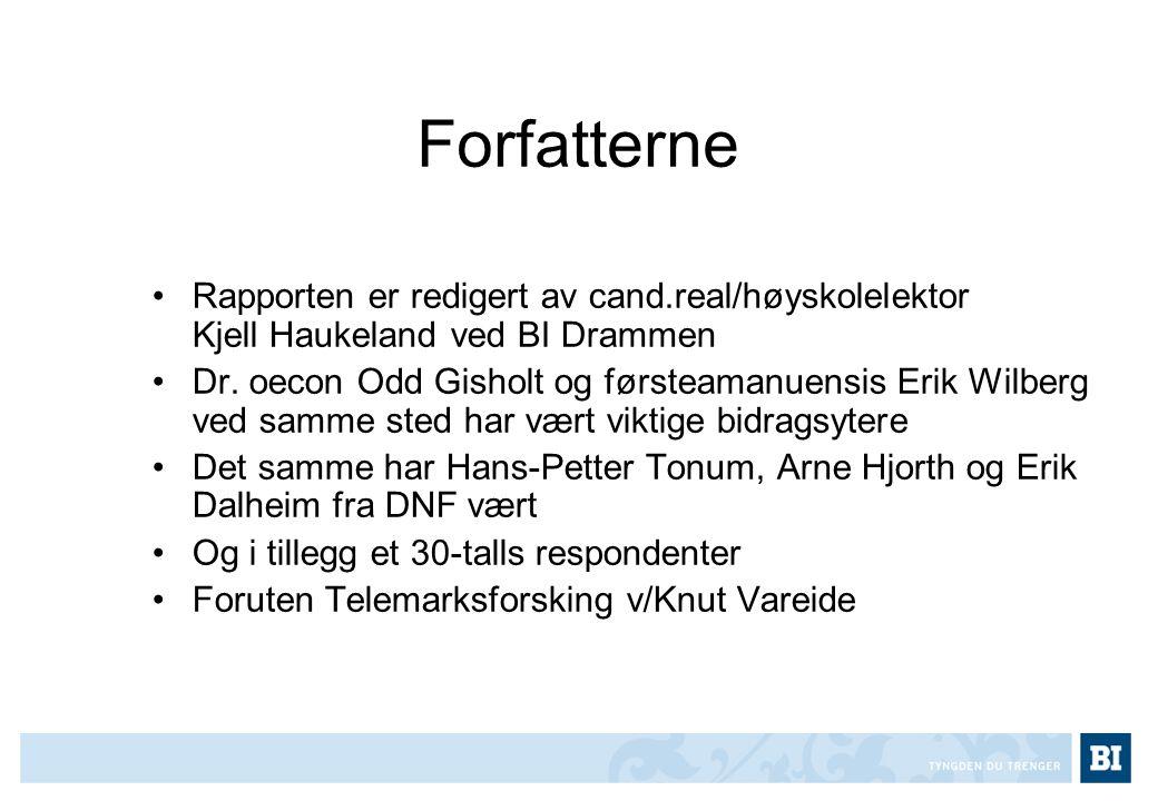Forfatterne •Rapporten er redigert av cand.real/høyskolelektor Kjell Haukeland ved BI Drammen •Dr. oecon Odd Gisholt og førsteamanuensis Erik Wilberg