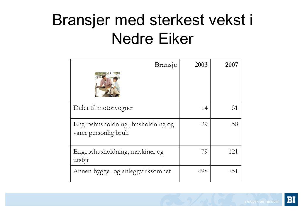Bransjer med sterkest vekst i Nedre Eiker Bransje20032007 Deler til motorvogner1451 Engroshusholdning., husholdning og varer personlig bruk 2958 Engro