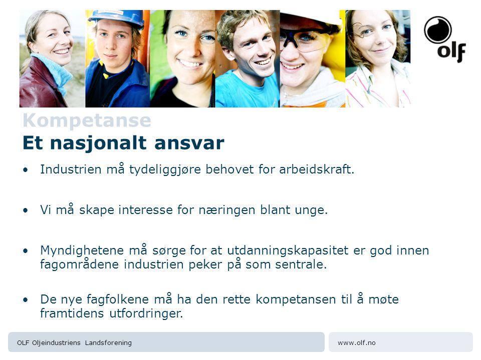 www.olf.noOLF Oljeindustriens Landsforening Kompetanse Et nasjonalt ansvar •Industrien må tydeliggjøre behovet for arbeidskraft.