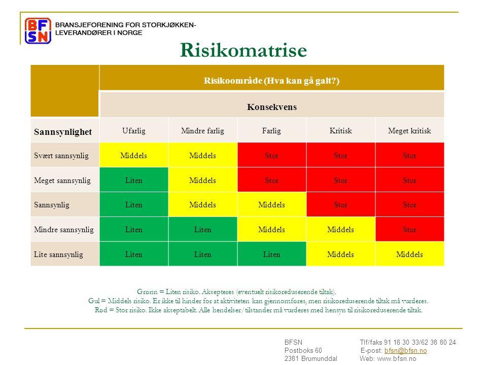BFSN Tlf/faks 91 18 30 33/62 38 80 24 Postboks 60 E-post: bfsn@bfsn.nobfsn@bfsn.no 2381 Brumunddal Web: www.bfsn.no Risikomatrise Risikoområde (Hva ka