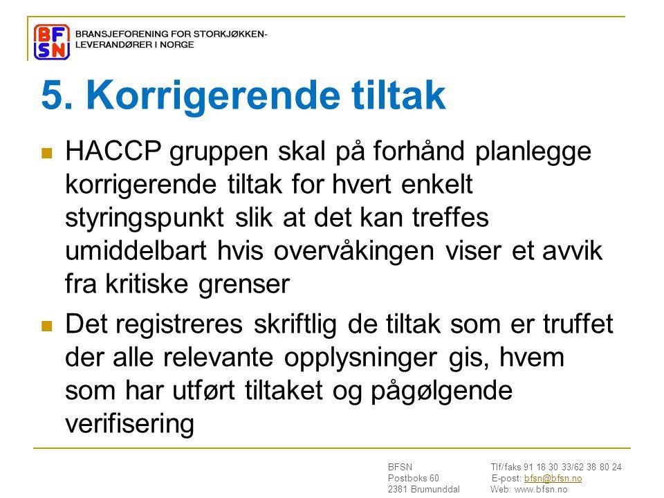 BFSN Tlf/faks 91 18 30 33/62 38 80 24 Postboks 60 E-post: bfsn@bfsn.nobfsn@bfsn.no 2381 Brumunddal Web: www.bfsn.no 5. Korrigerende tiltak  HACCP gru