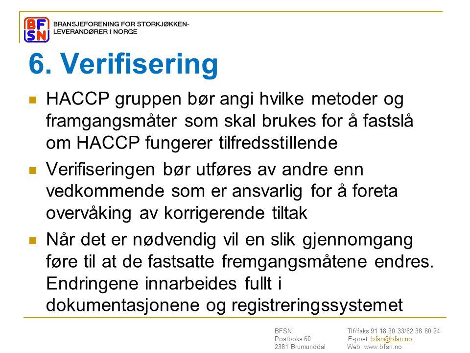 BFSN Tlf/faks 91 18 30 33/62 38 80 24 Postboks 60 E-post: bfsn@bfsn.nobfsn@bfsn.no 2381 Brumunddal Web: www.bfsn.no 6. Verifisering  HACCP gruppen bø