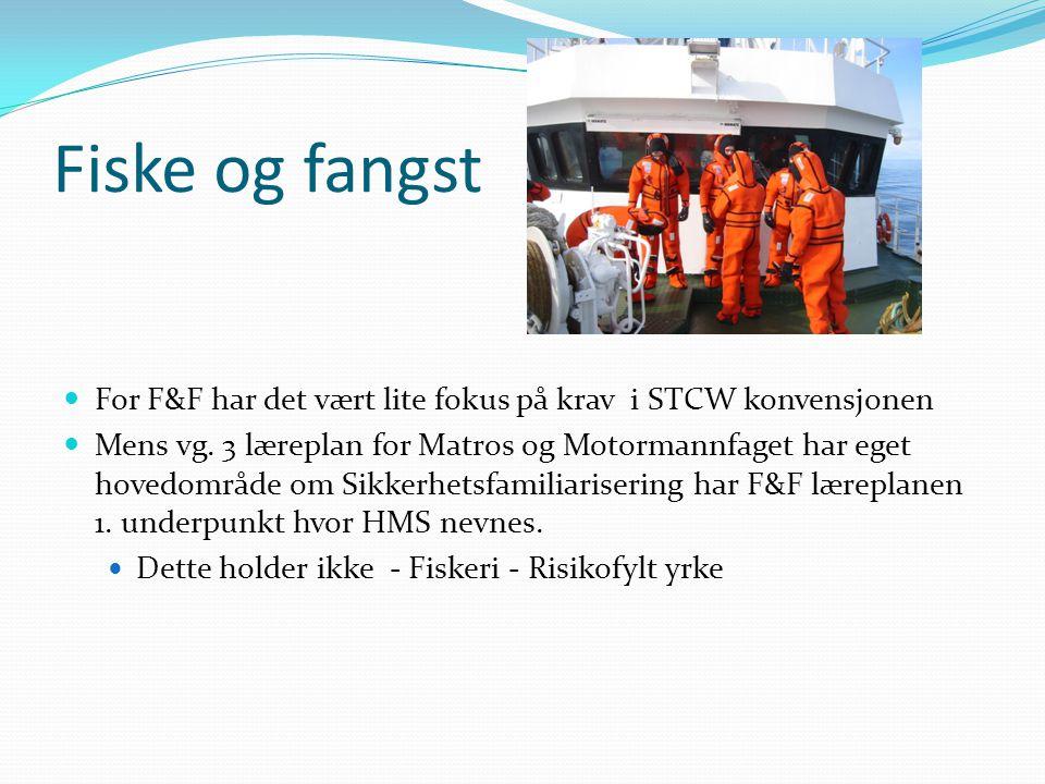 Fiske og fangst  For F&F har det vært lite fokus på krav i STCW konvensjonen  Mens vg. 3 læreplan for Matros og Motormannfaget har eget hovedområde