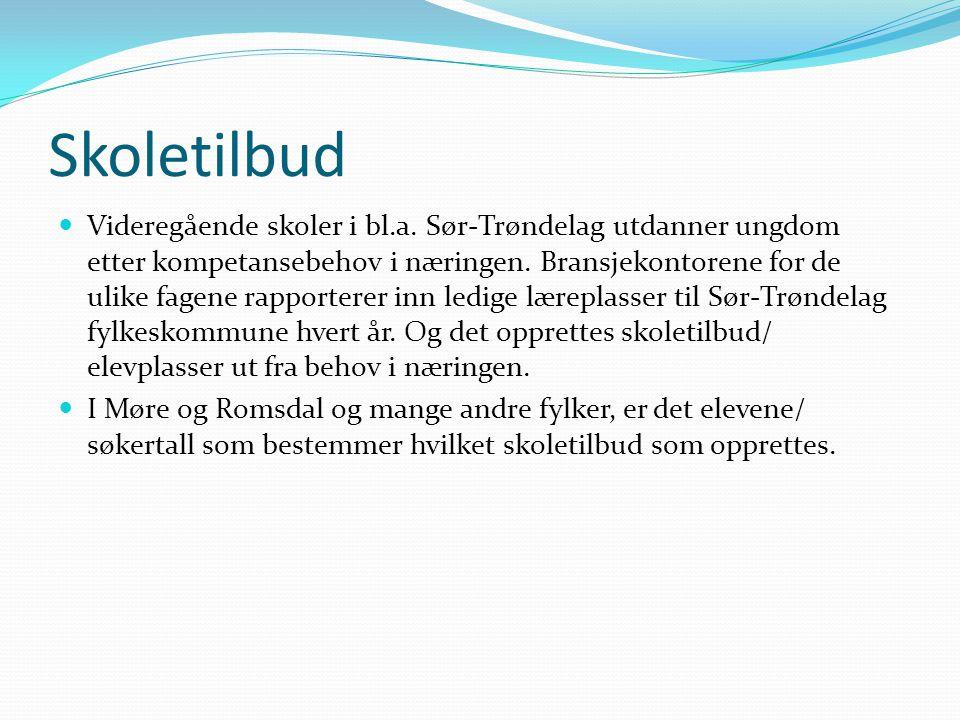 Skoletilbud  Videregående skoler i bl.a. Sør-Trøndelag utdanner ungdom etter kompetansebehov i næringen. Bransjekontorene for de ulike fagene rapport