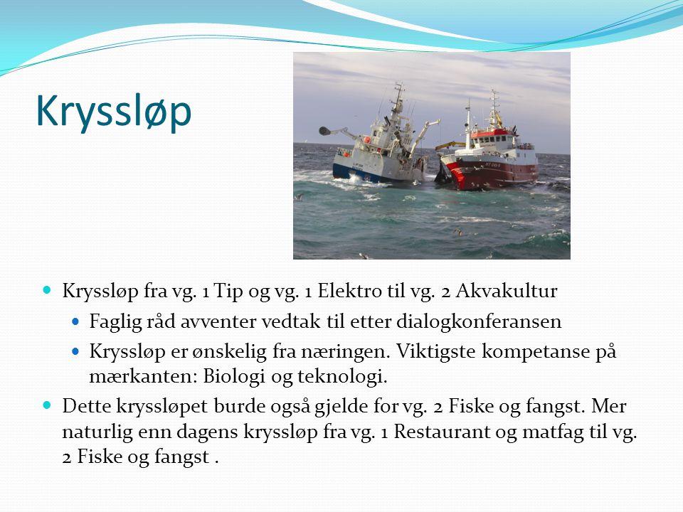 Kryssløp  Kryssløp fra vg. 1 Tip og vg. 1 Elektro til vg. 2 Akvakultur  Faglig råd avventer vedtak til etter dialogkonferansen  Kryssløp er ønskeli