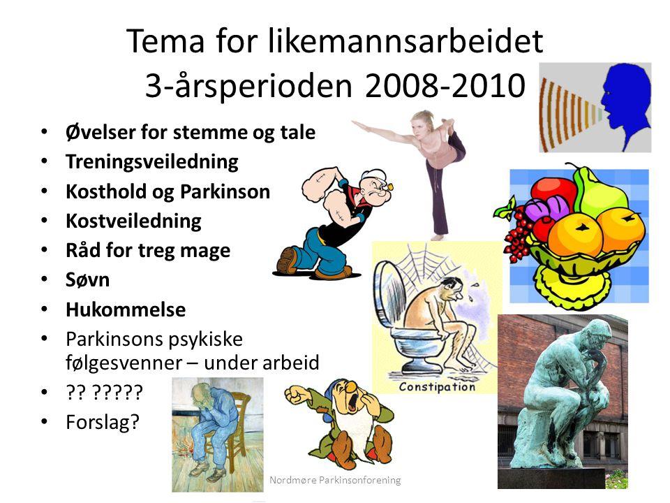 Tema for likemannsarbeidet 3-årsperioden 2008-2010 • Øvelser for stemme og tale • Treningsveiledning • Kosthold og Parkinson • Kostveiledning • Råd fo