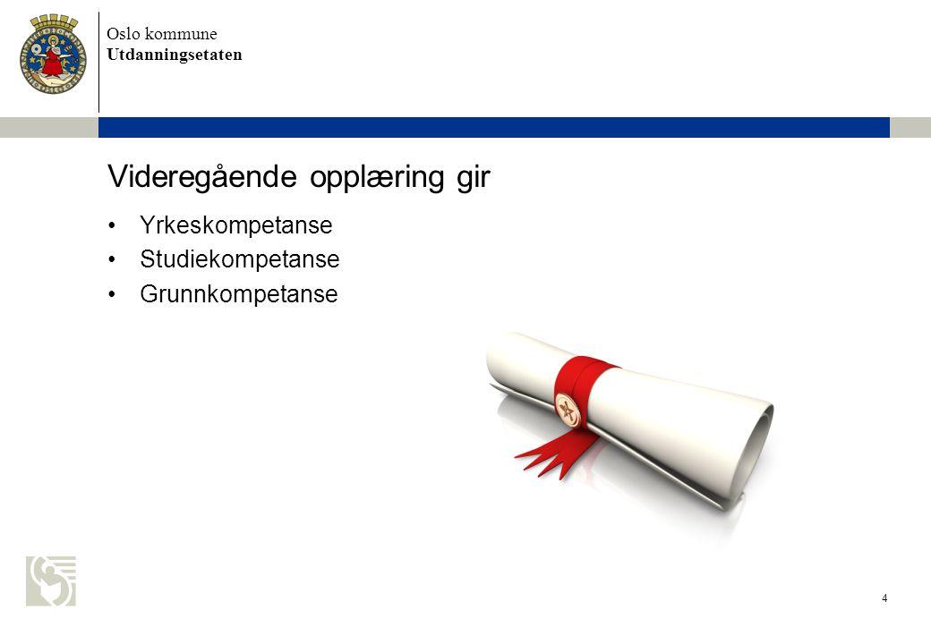 Oslo kommune Utdanningsetaten 5 Studiekompetanse •Kvalifiserer til universitet/høyskole •1 - 6 år