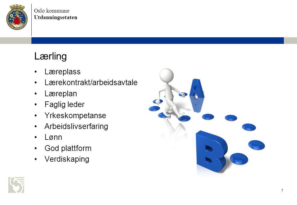 Oslo kommune Utdanningsetaten Yrkesfaglige utdanningsprogram 8 Vg1Vg2 Vg3 (fagopplæring i bedrift)