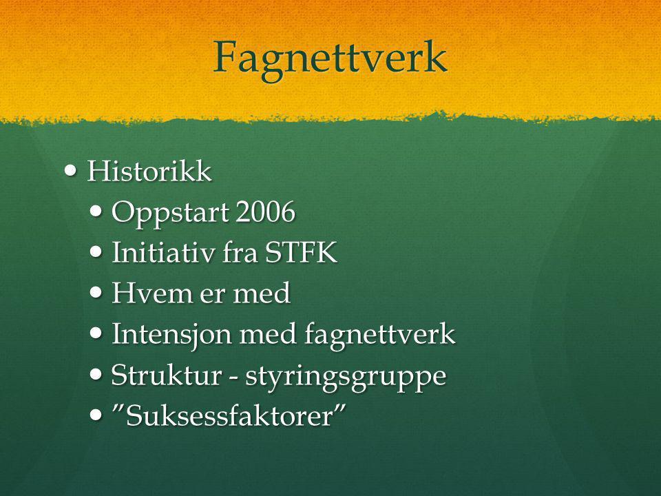 Fagnettverk  Historikk  Oppstart 2006  Initiativ fra STFK  Hvem er med  Intensjon med fagnettverk  Struktur - styringsgruppe  Suksessfaktorer
