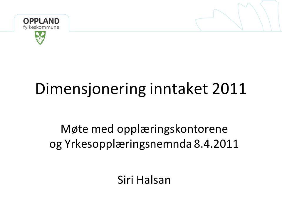 Dimensjonering inntaket 2011 Møte med opplæringskontorene og Yrkesopplæringsnemnda 8.4.2011 Siri Halsan
