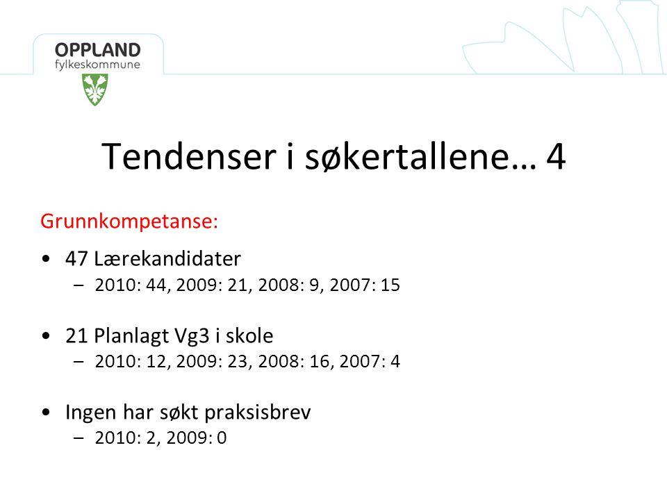 Tendenser i søkertallene… 4 Grunnkompetanse: •47 Lærekandidater –2010: 44, 2009: 21, 2008: 9, 2007: 15 •21 Planlagt Vg3 i skole –2010: 12, 2009: 23, 2