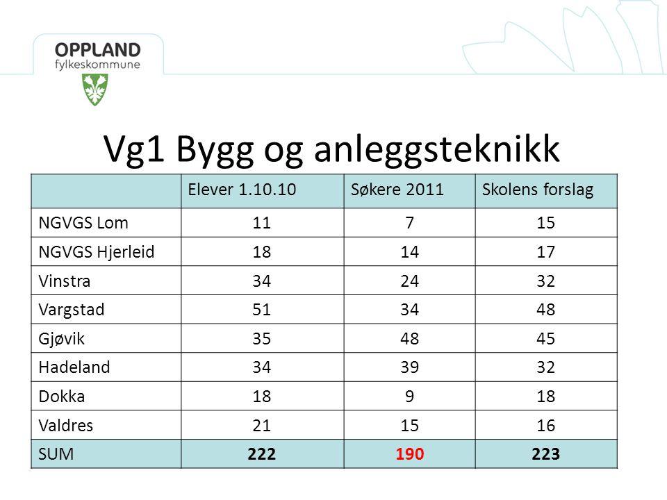 Vg1 Bygg og anleggsteknikk Elever 1.10.10Søkere 2011Skolens forslag NGVGS Lom11715 NGVGS Hjerleid181417 Vinstra342432 Vargstad513448 Gjøvik354845 Hade