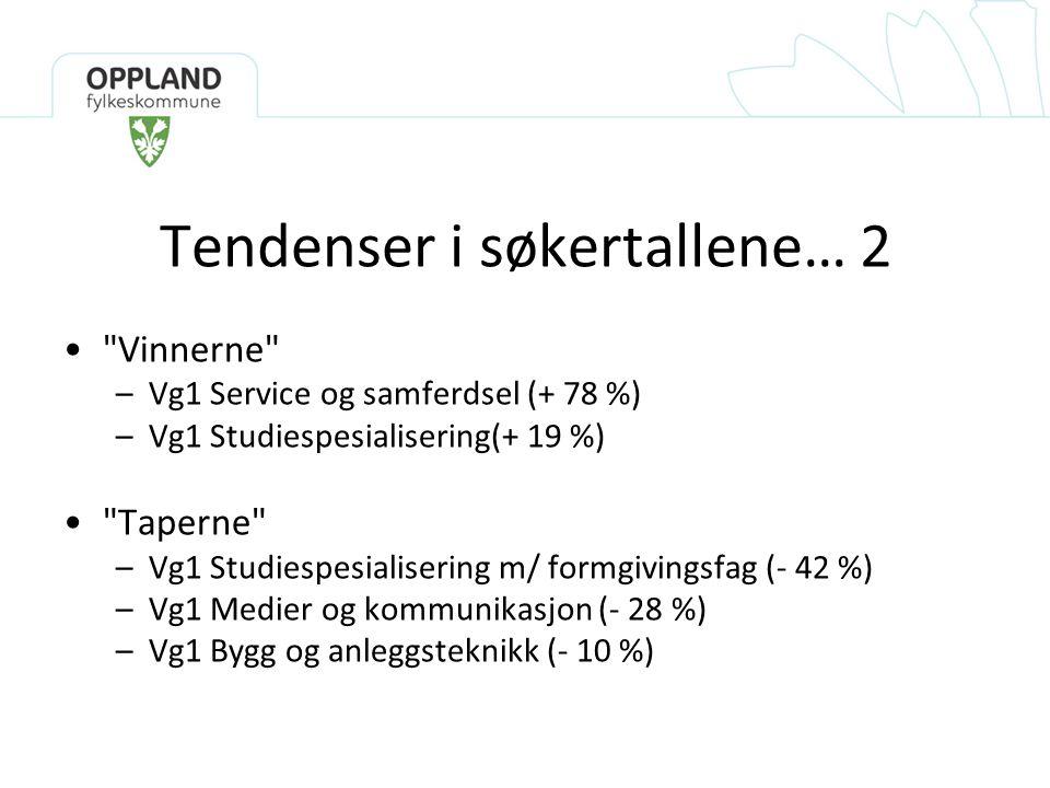 Tendenser i søkertallene… 2 • Vinnerne –Vg1 Service og samferdsel (+ 78 %) –Vg1 Studiespesialisering(+ 19 %) • Taperne –Vg1 Studiespesialisering m/ formgivingsfag (- 42 %) –Vg1 Medier og kommunikasjon (- 28 %) –Vg1 Bygg og anleggsteknikk (- 10 %)
