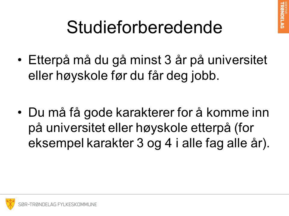 Studieforberedende •Etterpå må du gå minst 3 år på universitet eller høyskole før du får deg jobb. •Du må få gode karakterer for å komme inn på univer