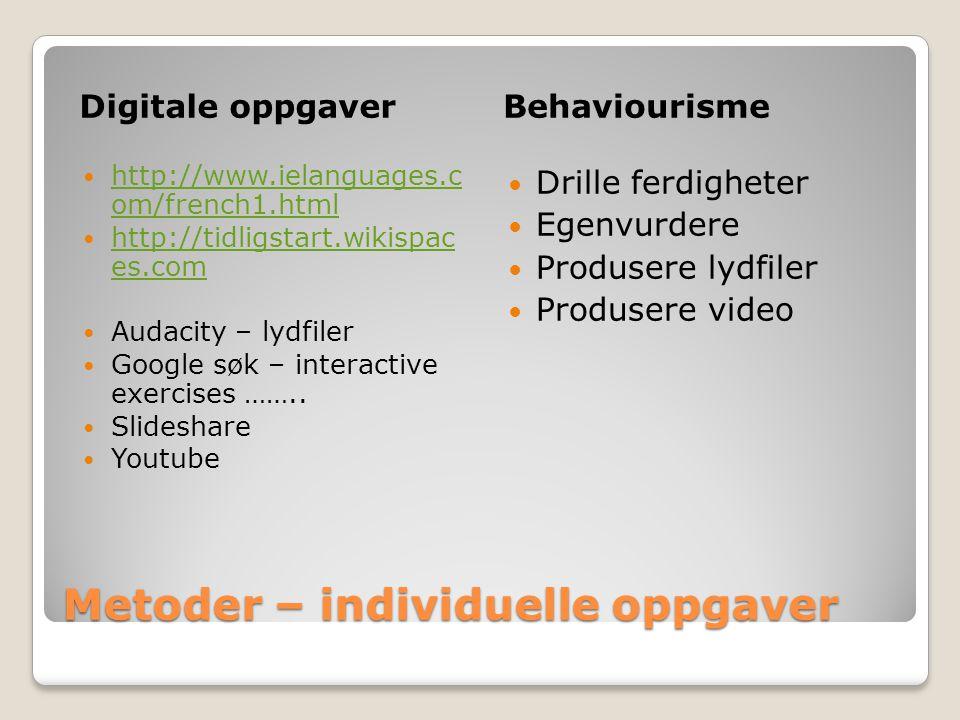 Metoder – individuelle oppgaver Digitale oppgaverBehaviourisme  http://www.ielanguages.c om/french1.html http://www.ielanguages.c om/french1.html  h