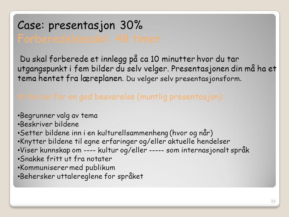 Case: presentasjon 30% Forberedelsesdel: 48 timer Du skal forberede et innlegg på ca 10 minutter hvor du tar utgangspunkt i fem bilder du selv velger.