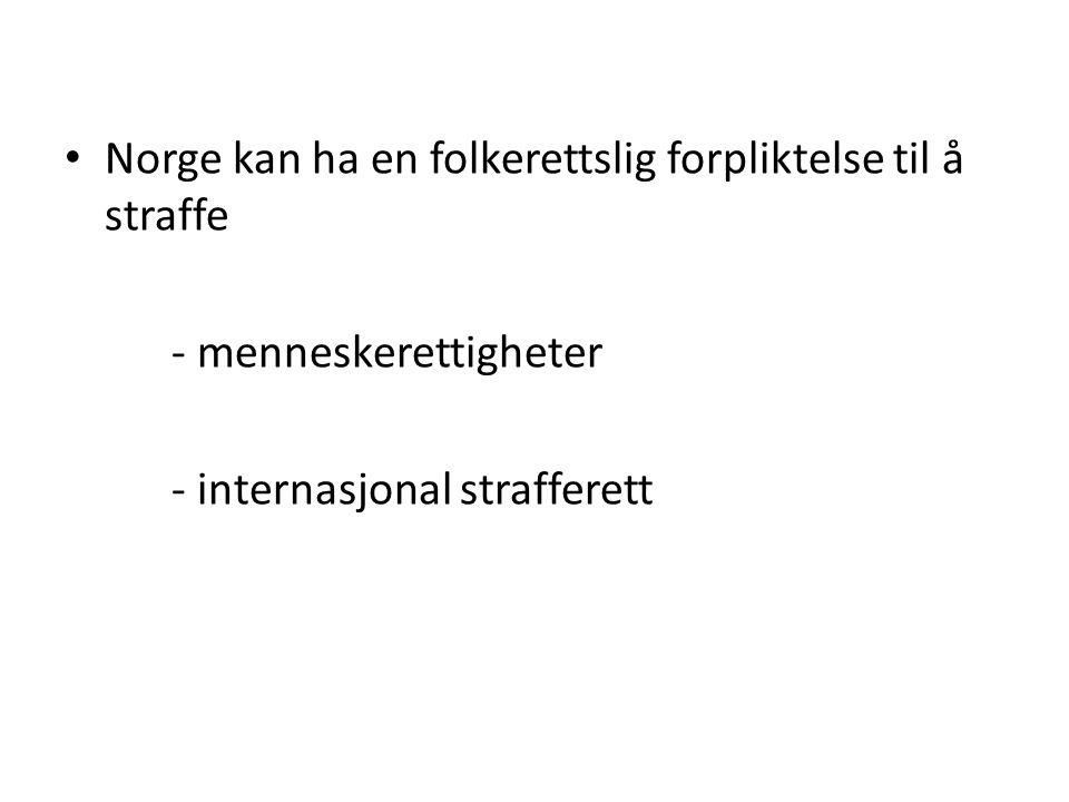• Norge kan ha en folkerettslig forpliktelse til å straffe - menneskerettigheter - internasjonal strafferett