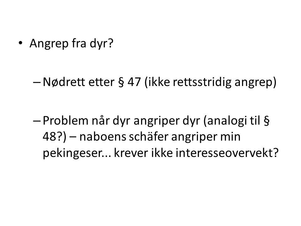 • Angrep fra dyr? – Nødrett etter § 47 (ikke rettsstridig angrep) – Problem når dyr angriper dyr (analogi til § 48?) – naboens schäfer angriper min pe