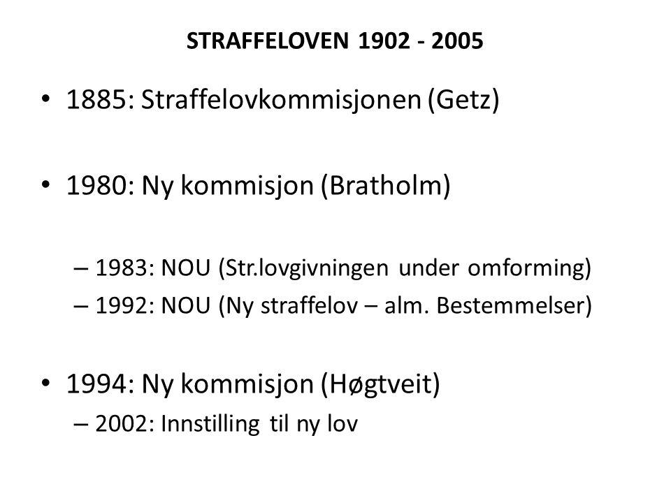 STRAFFELOVEN 1902 - 2005 • 1885: Straffelovkommisjonen (Getz) • 1980: Ny kommisjon (Bratholm) – 1983: NOU (Str.lovgivningen under omforming) – 1992: N